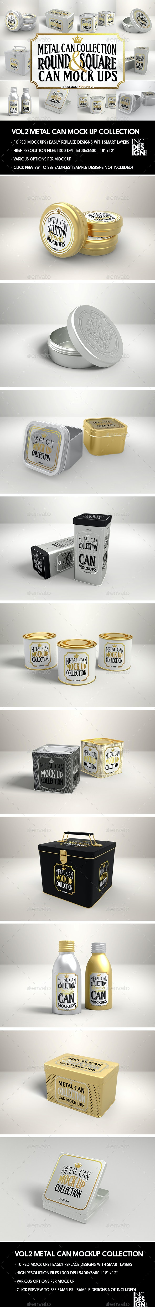 Metal Tin Can MockUp Collection Volume 2 - Packaging Product Mock-Ups