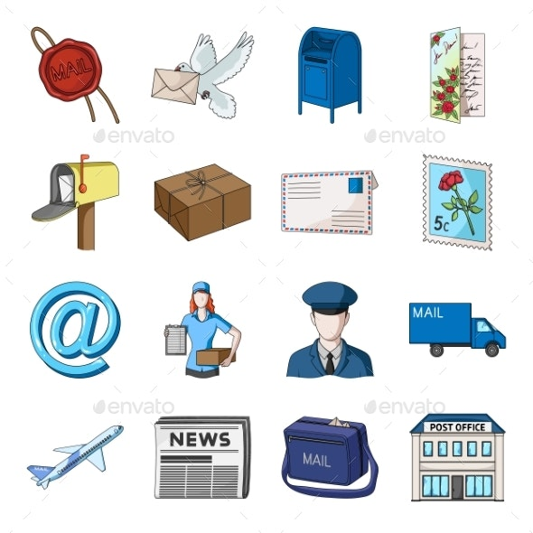 Mail and Postman Cartoon Icons in Set - Miscellaneous Vectors