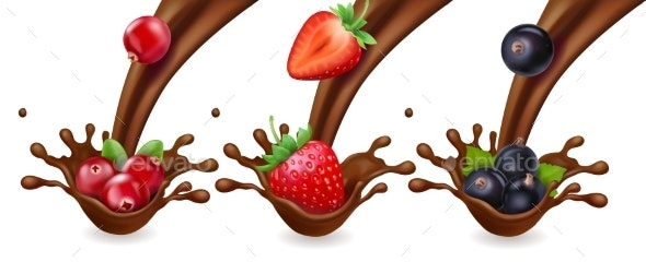 Chocolate and Berries - Food Objects