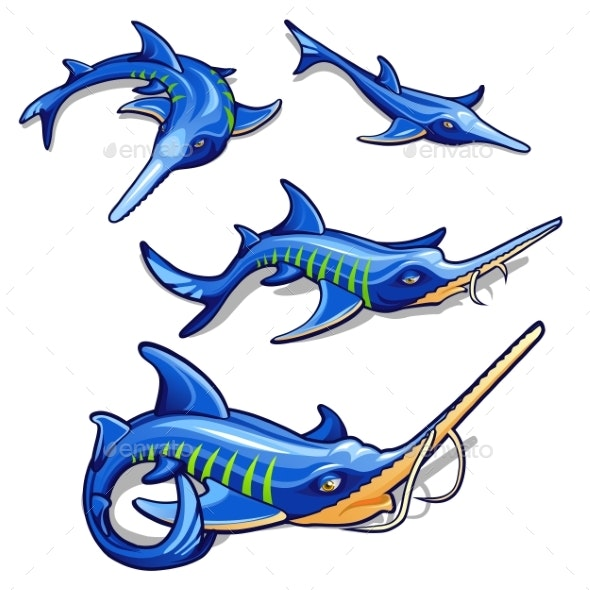 The Growth Stage of Blue Sturgeon Isolated - Animals Characters