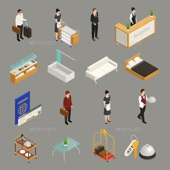 Hotel Service Staff Isometric Icons - Industries Business