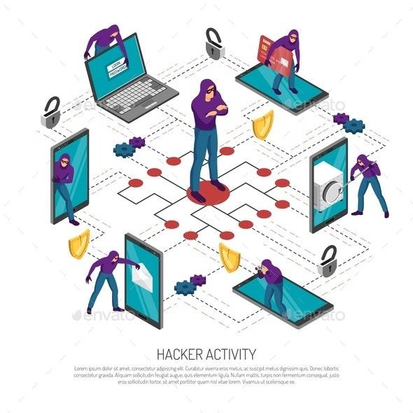 Isometric Hacker Flowchart - Miscellaneous Conceptual