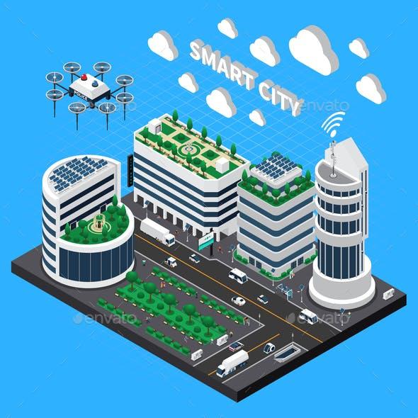 Smart City Technology Isometric Concept