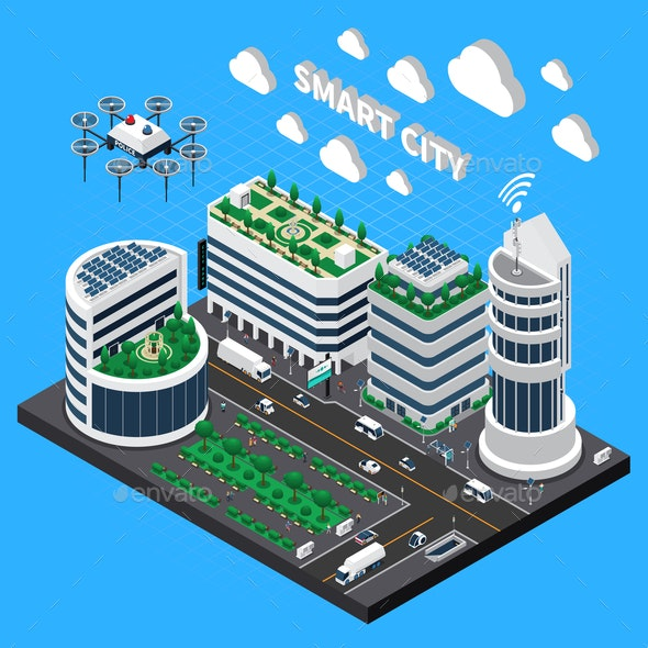 Smart City Technology Isometric Concept - Buildings Objects