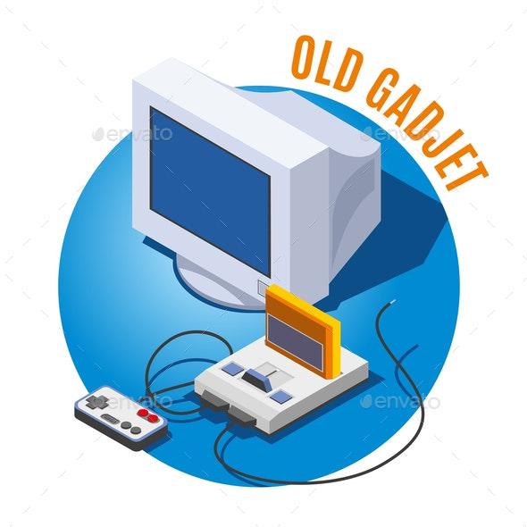Old Gadgets Isometric Illustration - Retro Technology