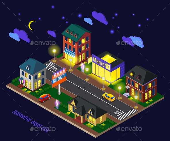 Night Suburb Isometric Composition - Buildings Objects