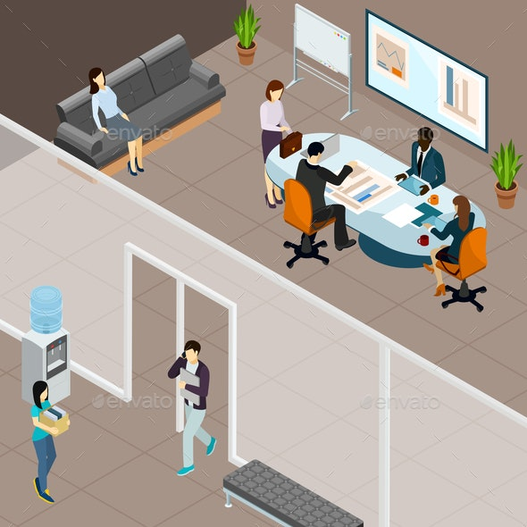 Office Business Meeting Isometric Illustration - Concepts Business