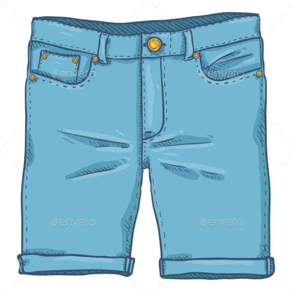 Vector Cartoon Illustration - Blue Denim Jeans