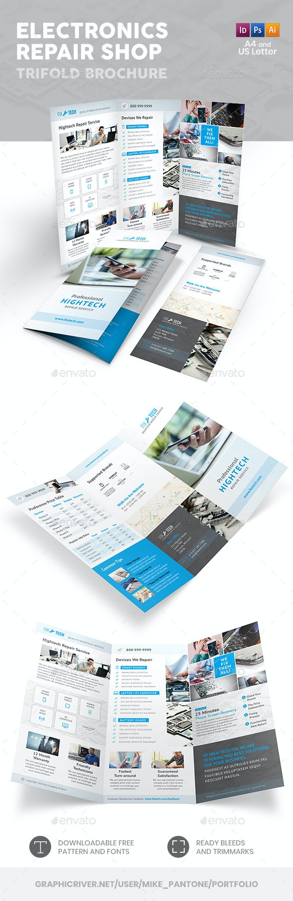 Electronic Repair Shop Trifold Brochure - Informational Brochures