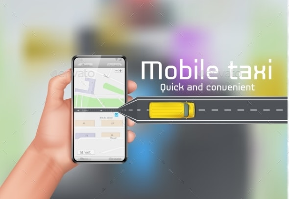 Mobile Taxi Vector Concept Background - Services Commercial / Shopping