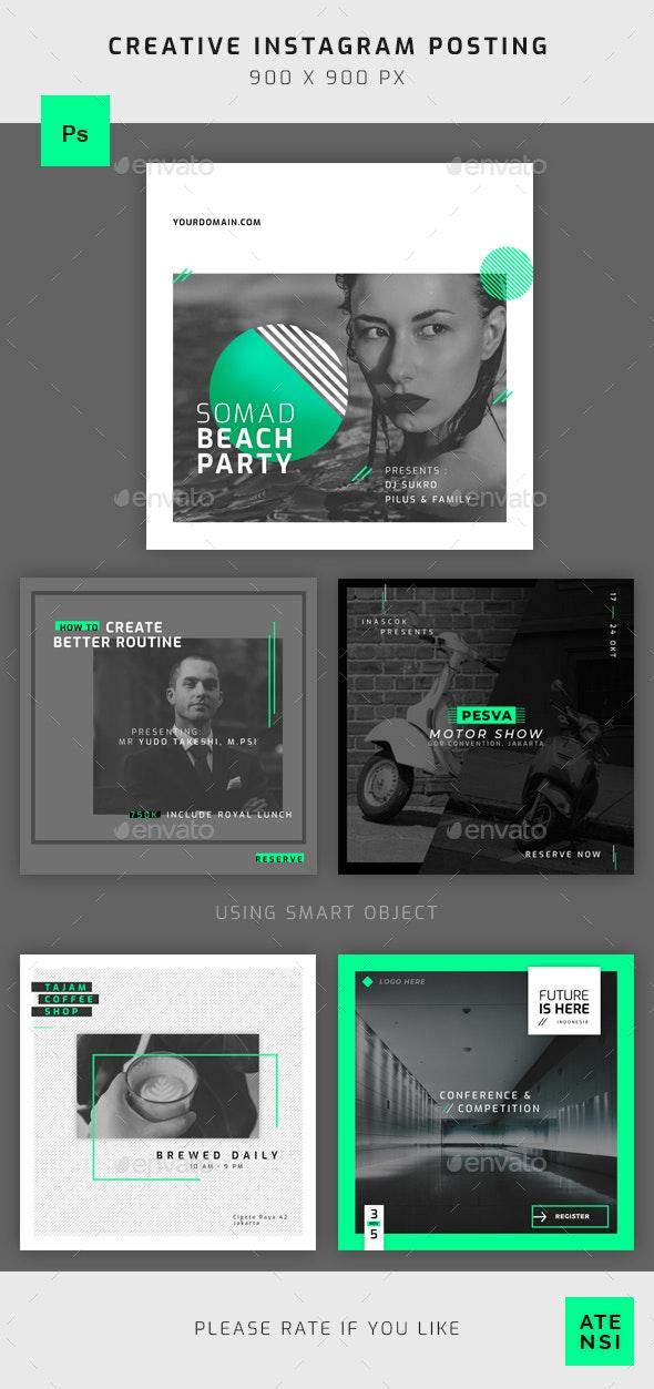 Neon Instagram Template - Social Media Web Elements