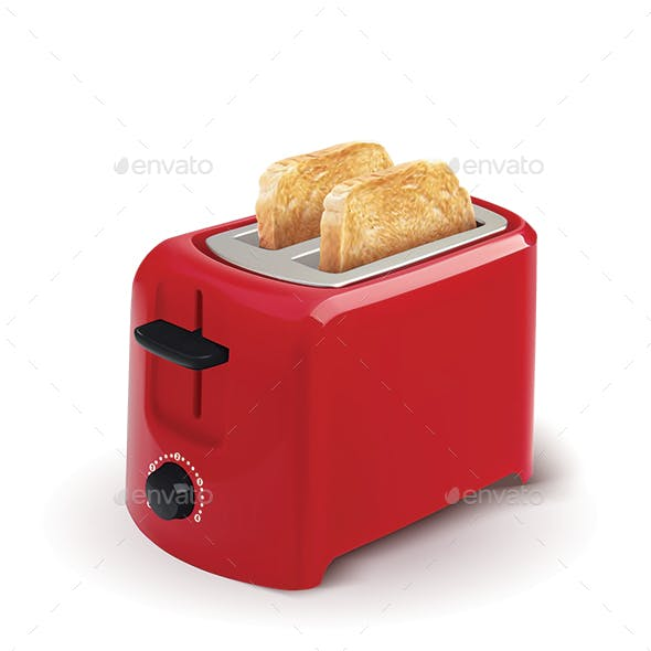 Red Toaster With Toasted Bread
