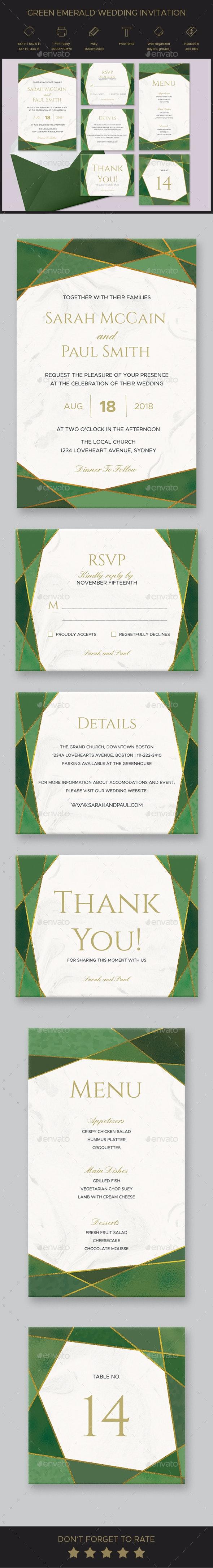 Green Emerald Wedding Invitation Set - Weddings Cards & Invites