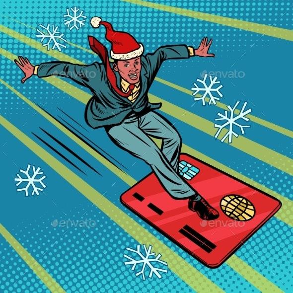 Christmas Businessman and Bank Card - Christmas Seasons/Holidays