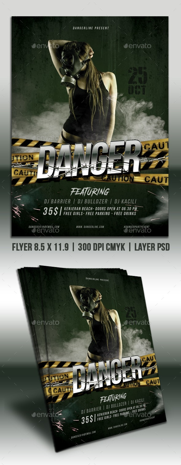 Danger Party Flyer - Clubs & Parties Events