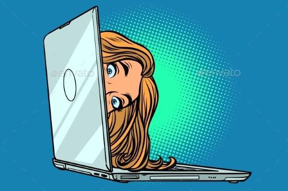 Woman Peeking Out of Laptop - Computers Technology