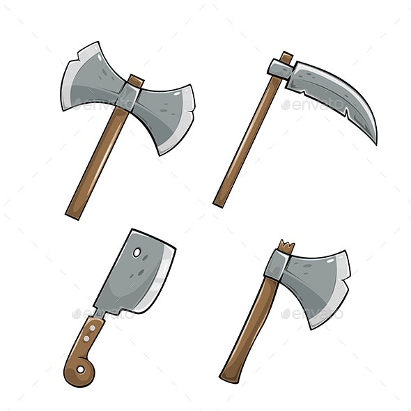 Axe with Scythe Icon Set - Man-made Objects Objects