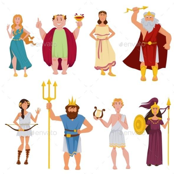 Ancient Greek Gods Vector Cartoon Characters