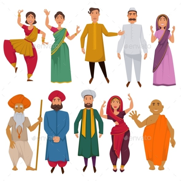 Indian People Traditional Clothes Vector Cartoon - People Characters