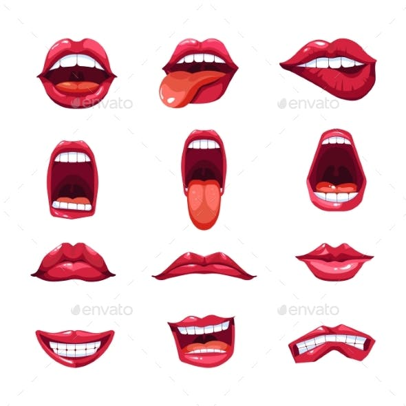 Mouth Lips and Tongue Smile Vector Emoji Icons