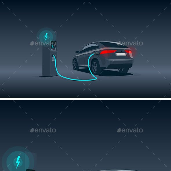 Electric Car SUV Charging at the Station at Night