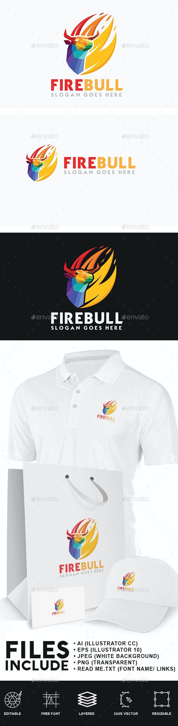 Fire Bull Logo - Animals Logo Templates