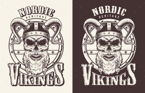 T-shirt Print with Viking Head - Miscellaneous Vectors