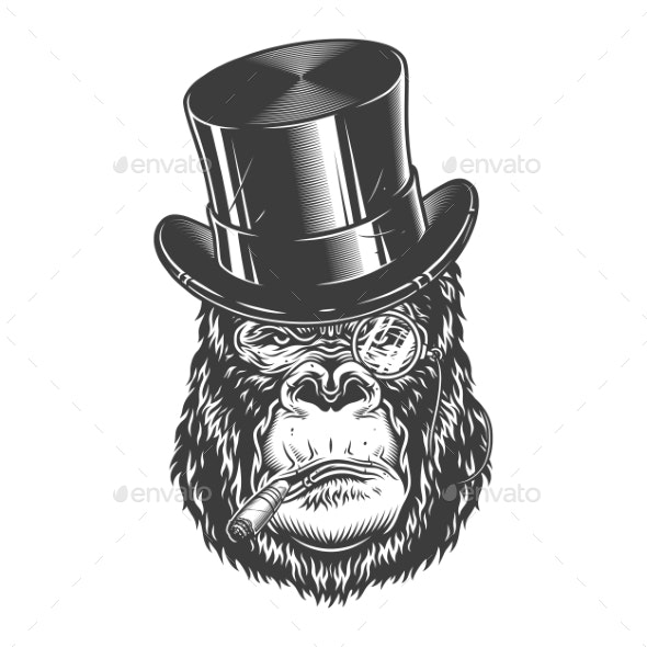 Gorilla Head in Monochrome Style - Miscellaneous Vectors
