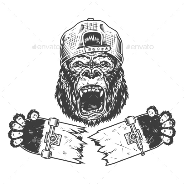 Angry Gorilla Cracked Skateboard - Miscellaneous Vectors