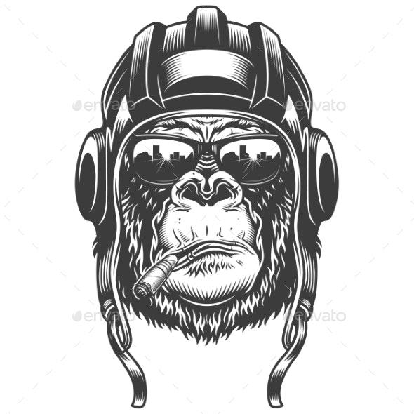 Gorilla Head in Monochrome Style - Miscellaneous Vectors