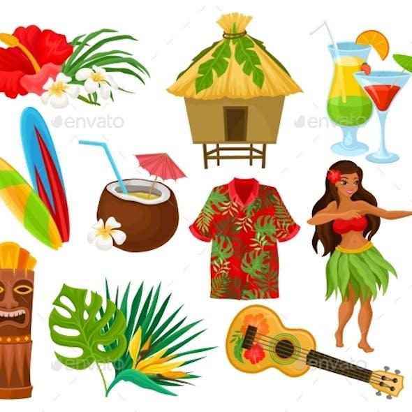 Traditional Symbols of Hawaiian Culture Set