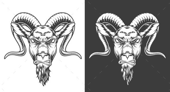 Monochrome Goat Icon - Animals Characters