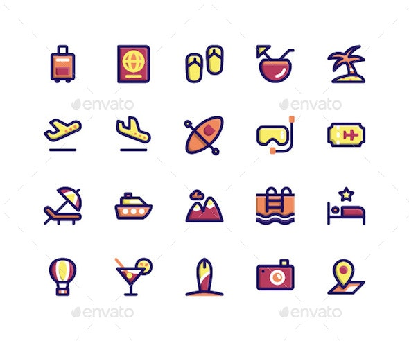 Travel Filled Line Icons - Miscellaneous Icons