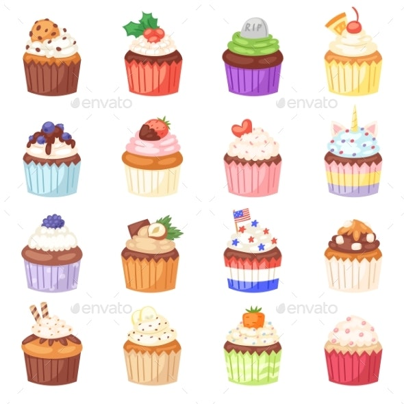 Cupcake Vectors - Food Objects