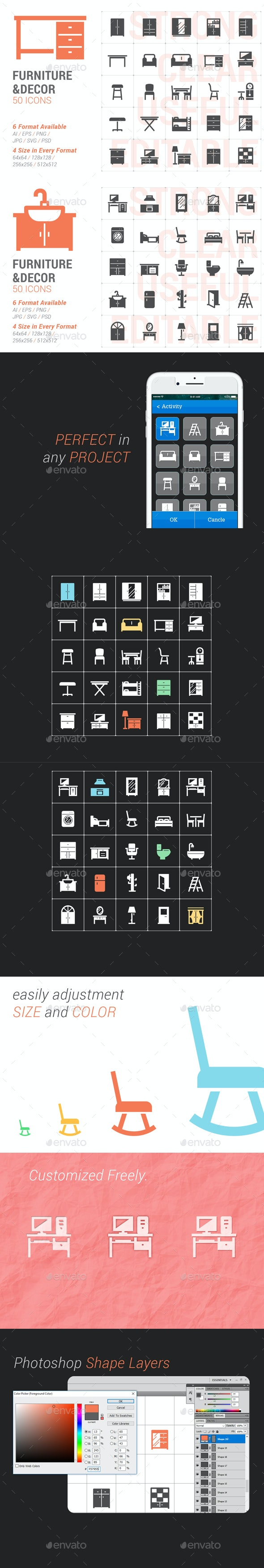 Furniture and Decor Filled Icon - Objects Icons