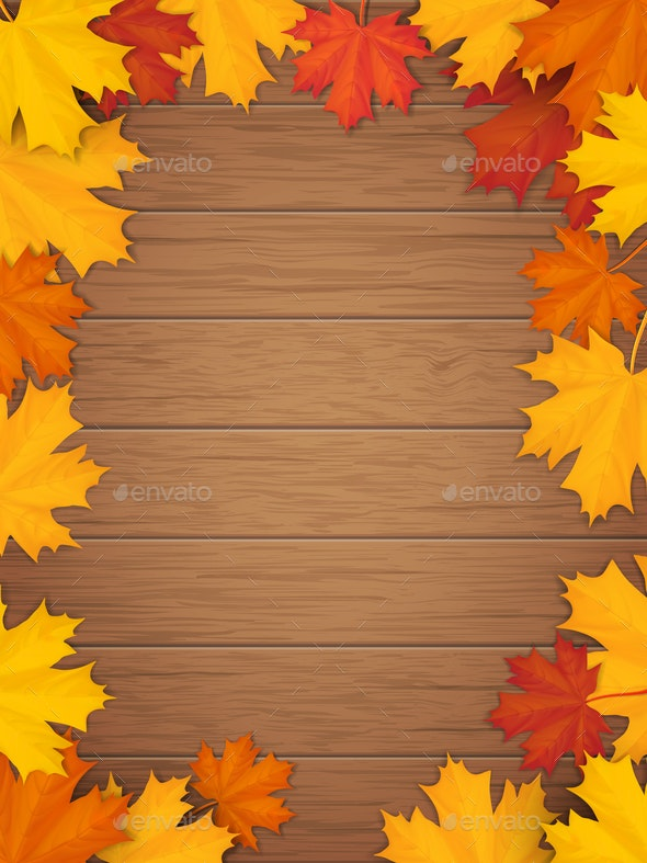 Autumn Leaves on Wooden Background - Borders Decorative
