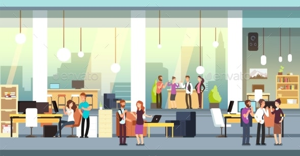 Coworkers in Office. People in Coworking Open - People Characters