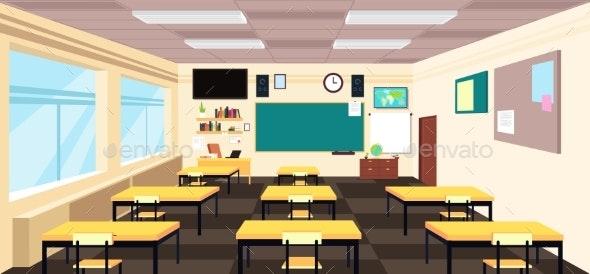 Cartoon Empty Classroom, High School Room Interior - Miscellaneous Vectors