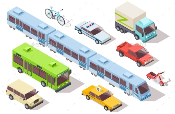 Isometric City Public Transport. Subway Train, Bus - Objects Vectors