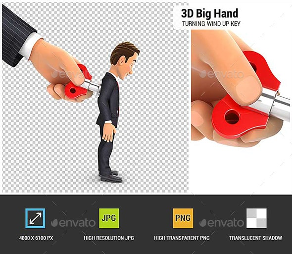 3D Big Hand Turning Wind Up Key on Businessman Back - Characters 3D Renders