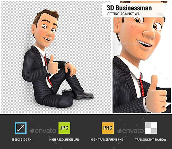 3D Businessman Sitting Against Wall with Thumb Up - Characters 3D Renders