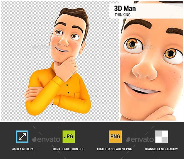 3D Man Thinking - Characters 3D Renders