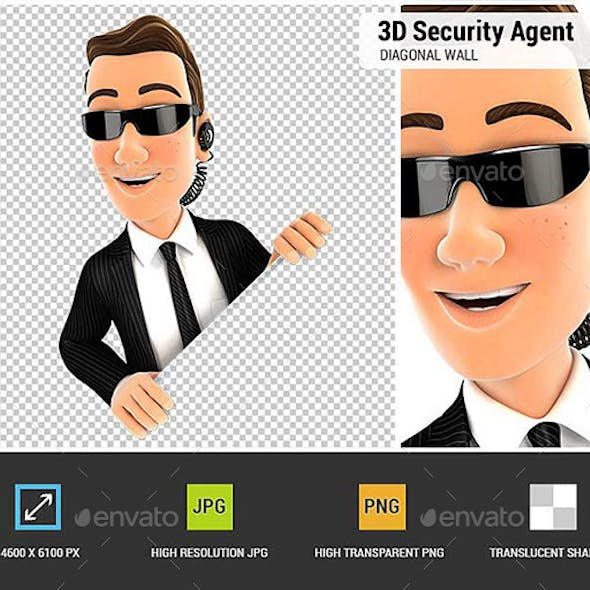3D Security Agent Behind Diagonal Wall
