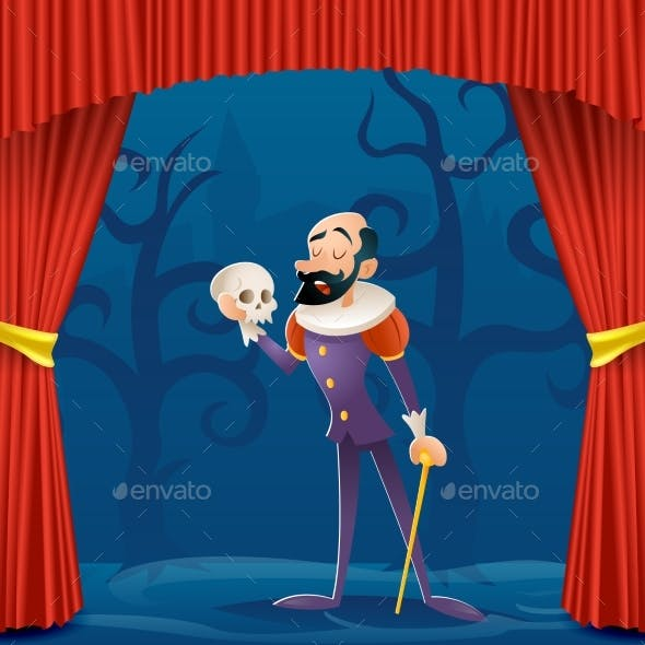 Actor Man Medieval Suit Tragic Theater Curtains