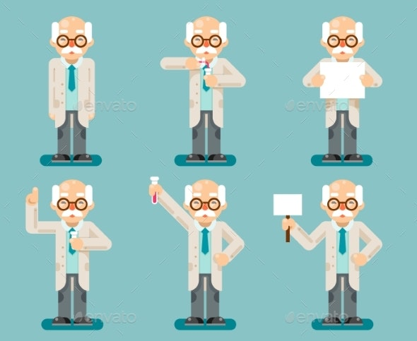 Experiment Old Wise Smart Scientist Chemical Test - People Characters