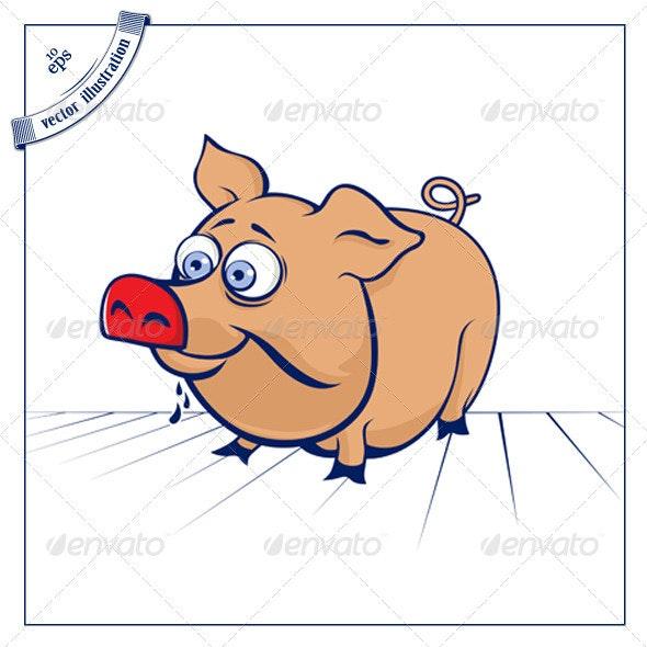 Cartoon Funny Pig - Animals Characters