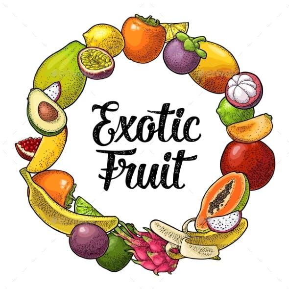 Circle Shape Set of Fruits