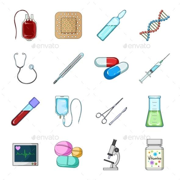 Medicine and Treatment Cartoon Icons in Set - Health/Medicine Conceptual