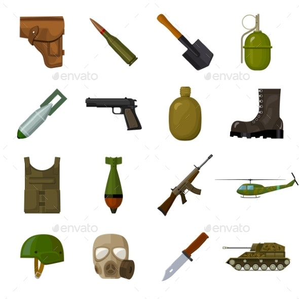 Army and Armament Cartoon Icons - Miscellaneous Vectors