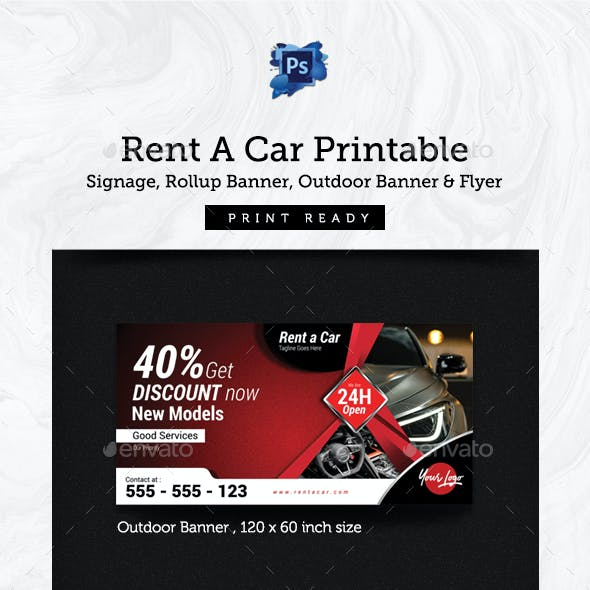 Rent A Car Printable - Signage & Flyer